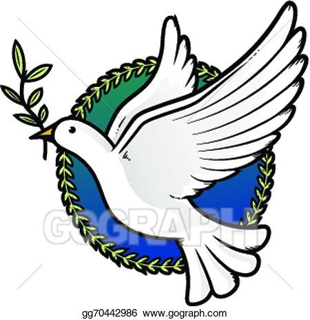 Vector of illustration . Peace clipart dove
