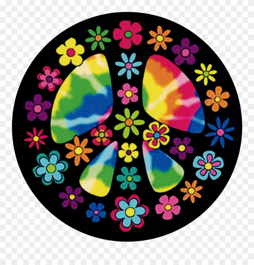Flowery sign . Peace clipart hippie