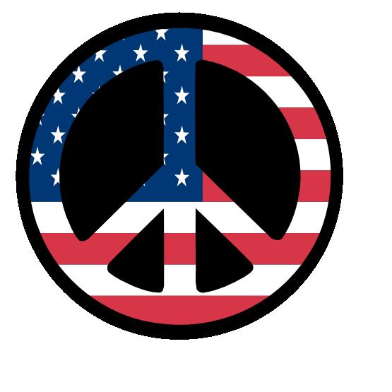 Us flag sign stars. Peace clipart peace logo
