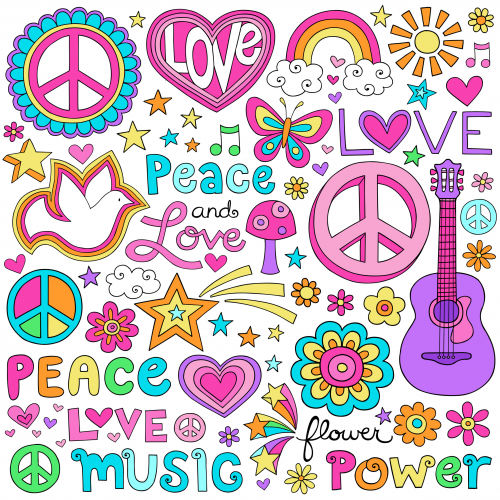 Scrapbook and background . Peace clipart peace love