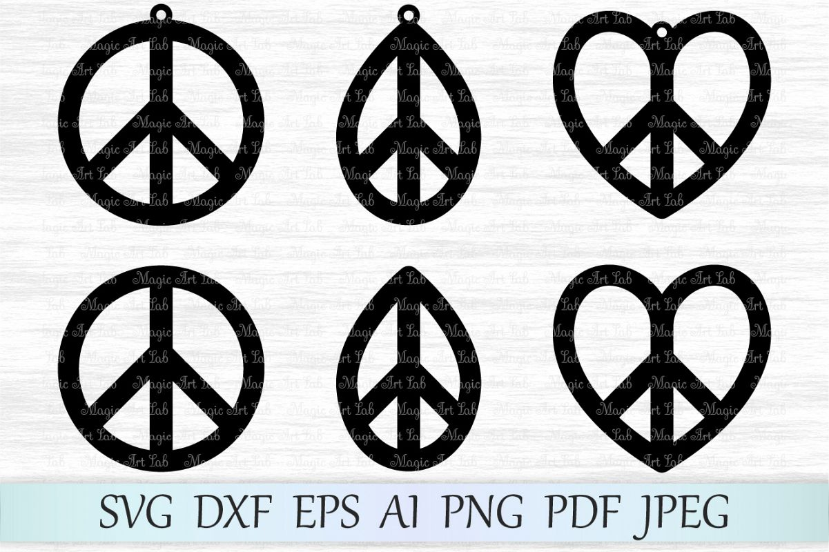 Peace clipart peace symbol. Svg file earring sign
