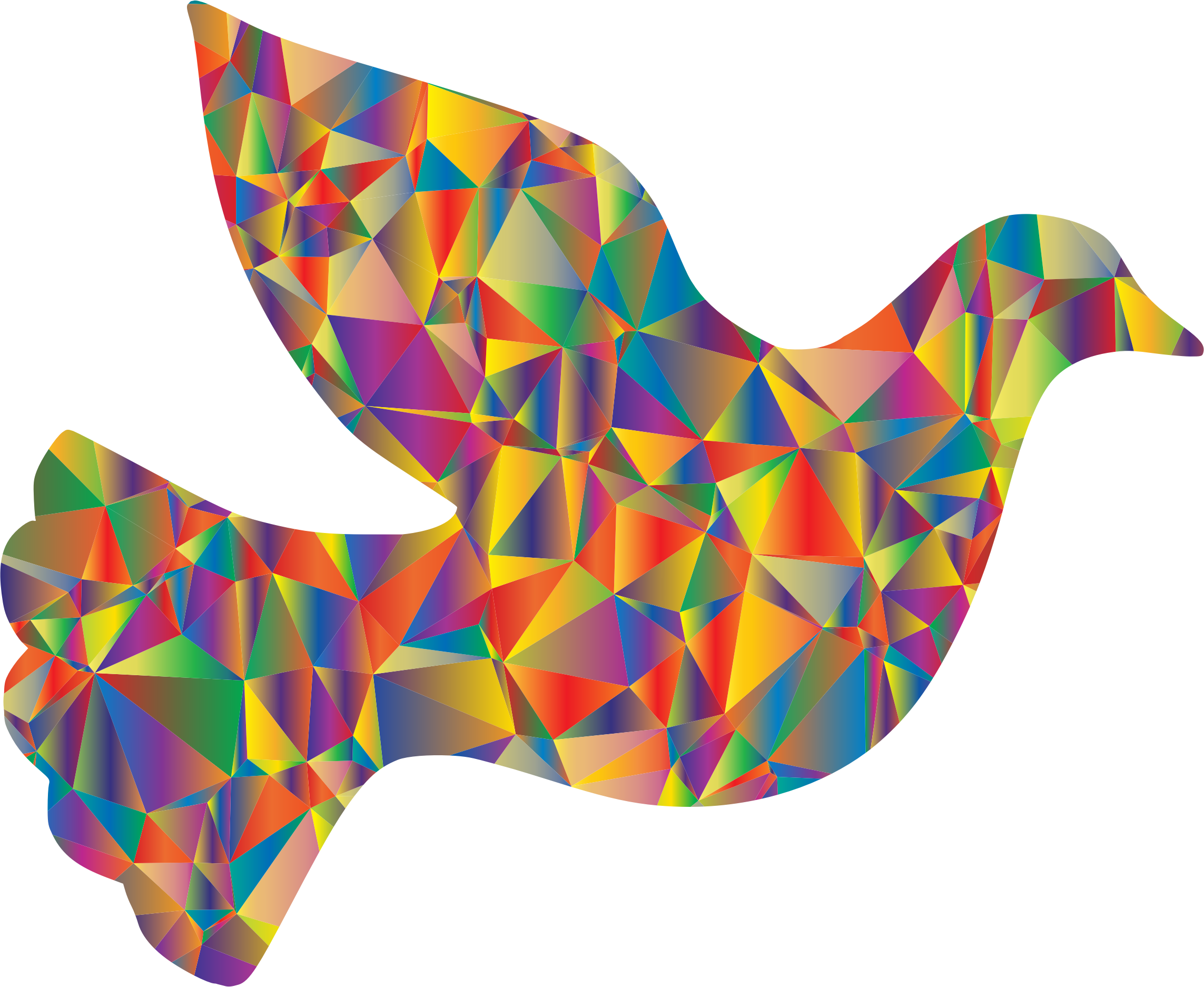 Low poly dove icons. Peace clipart psychedelic flower