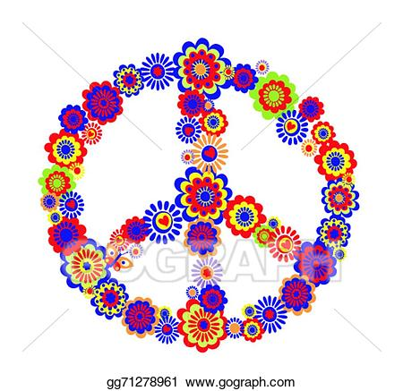 Eps illustration abstract symbol. Peace clipart psychedelic flower