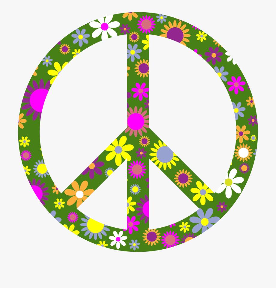 Floral big image png. Peace clipart retro
