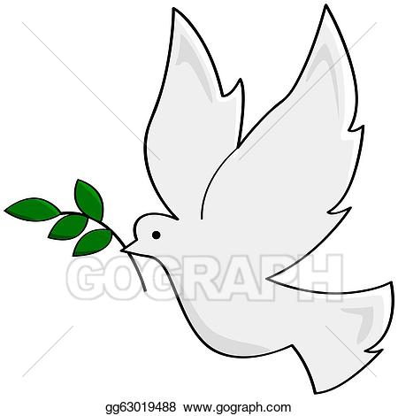 Vector art drawing gg. Peace clipart small dove