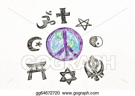 Peace clipart world drawing. Stock illustration gg