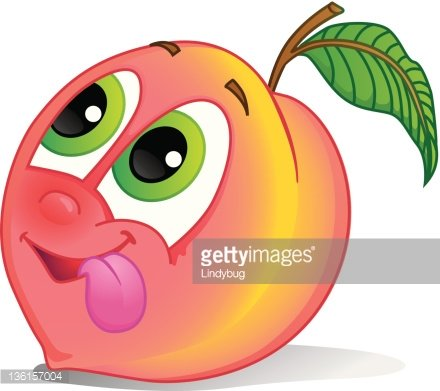Fruit character image clip. Peach clipart cute