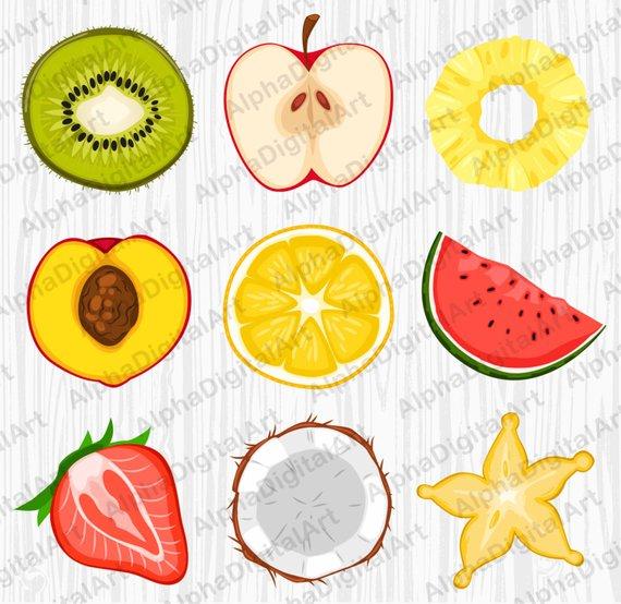 fruits watermelon. Peach clipart orange apple