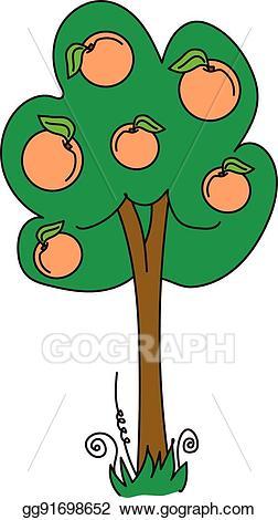 Peaches clipart peach tree. Vector illustration eps gg