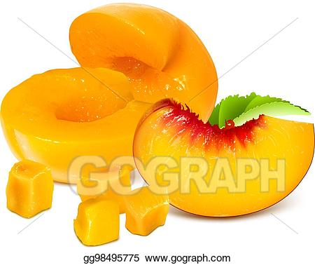 Peaches clipart ripe fruit. Vector illustration peach slices