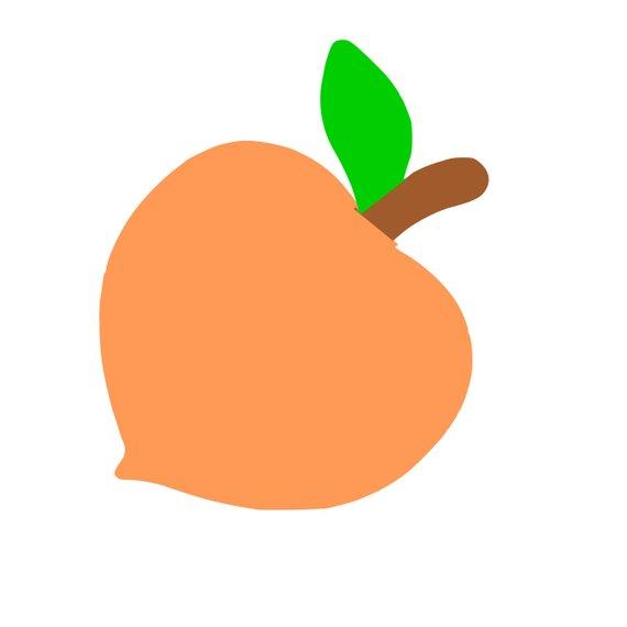 Monogram instant download design. Peach clipart svg