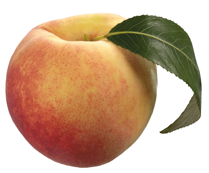 With green leaf png. Peach clipart transparent background peach