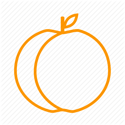 Fruit cartoon peach orange. Peaches clipart outline