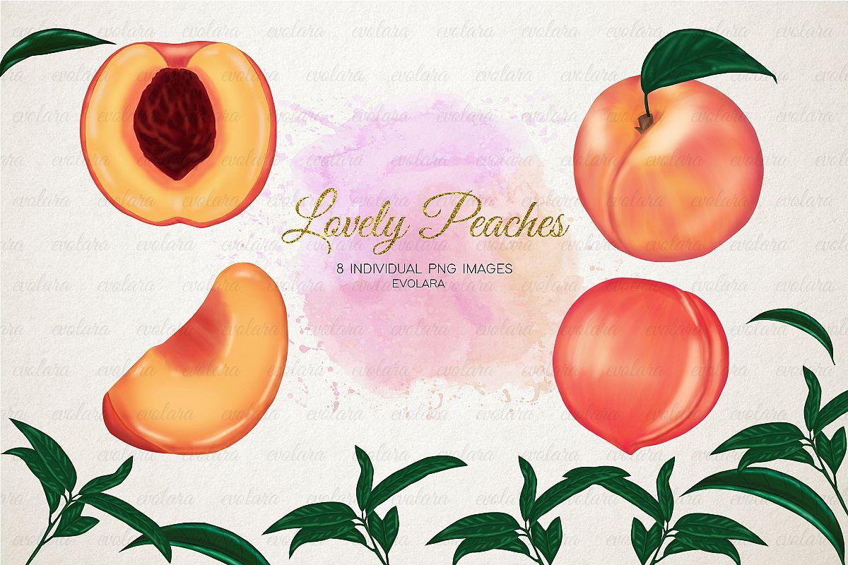 Peaches fruits greenery . Peach clipart fruit plant