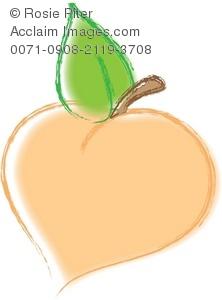 Clip art illustration of. Peaches clipart stem