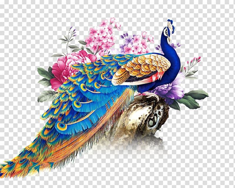Blue and multicolored illustration. Peacock clipart deepavali