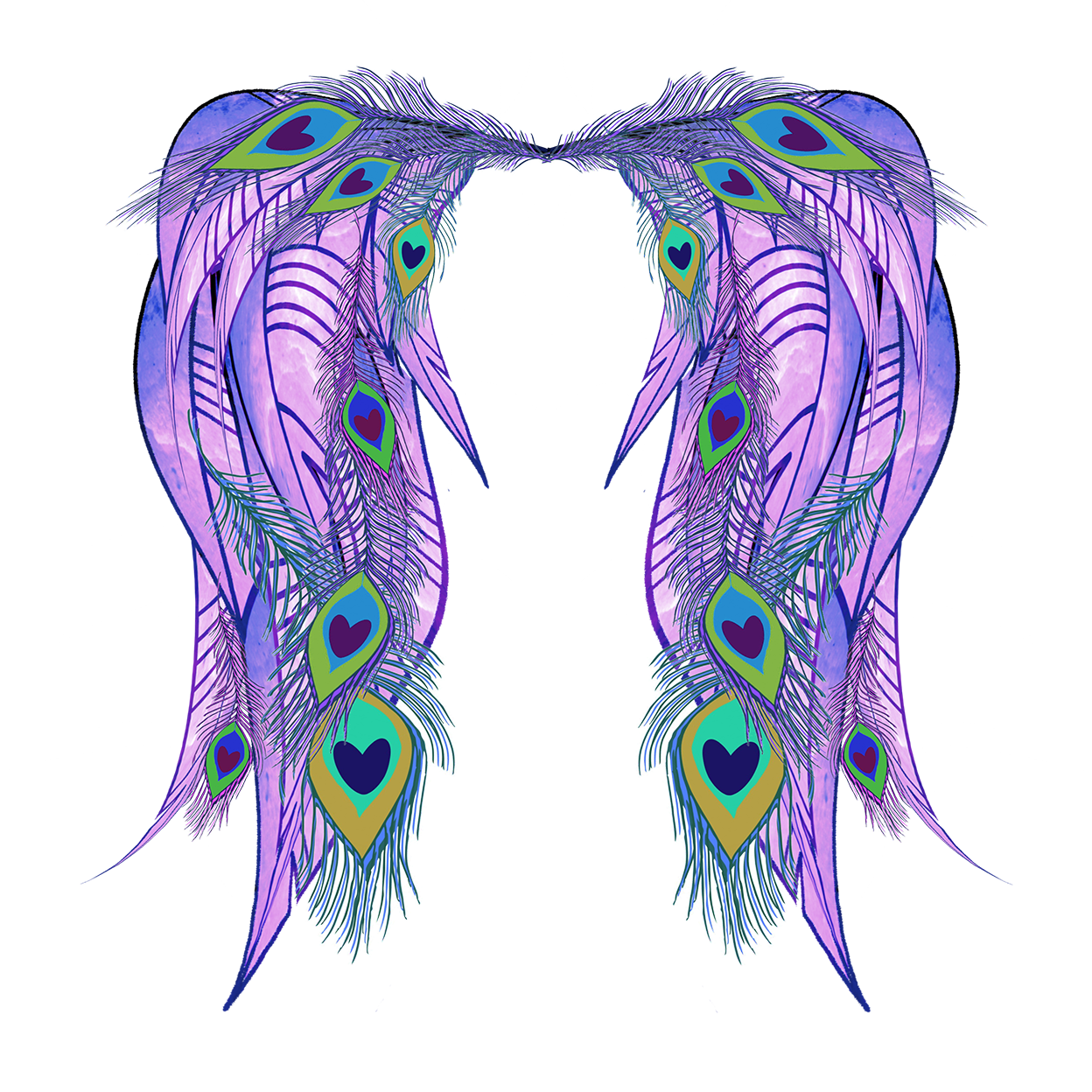 Wing clipart peacock. Feather angel wings thestarvingartista