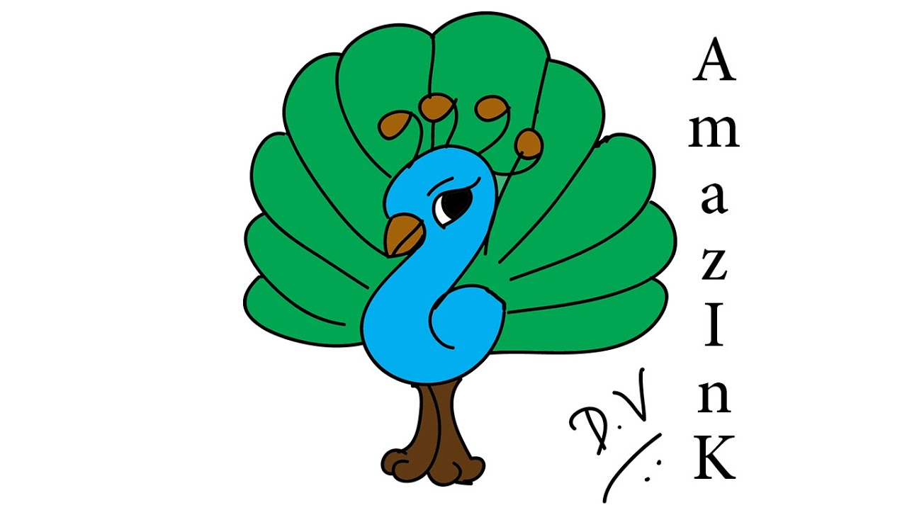 Peacock clipart draw. Learn how to a
