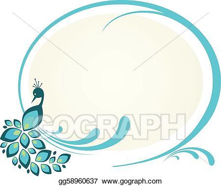 Vector illustration of sitting. Peacock clipart frame