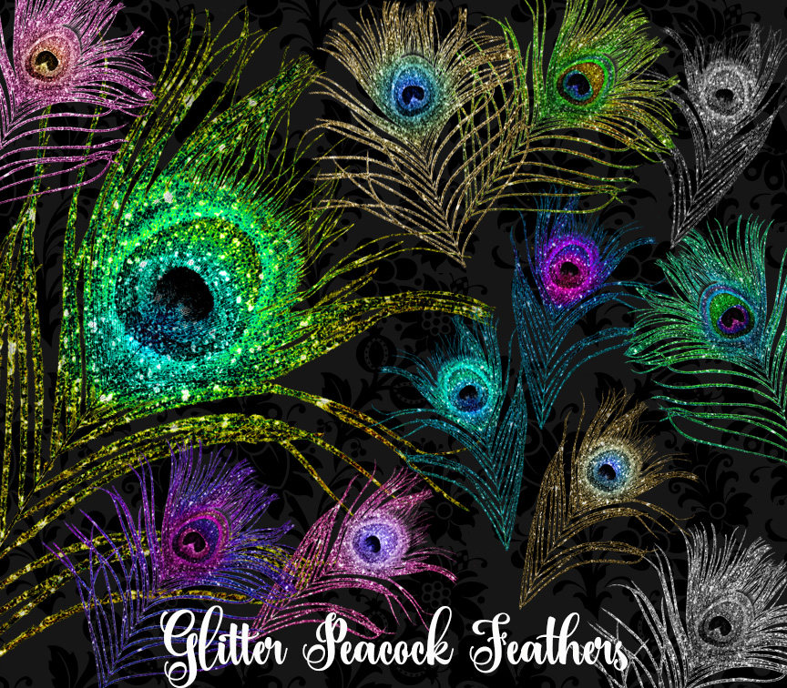 Feather . Peacock clipart glitter