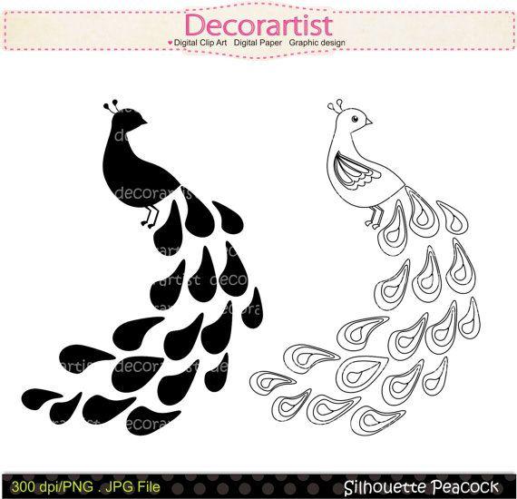 Silhouette clip black . Peacock clipart line art