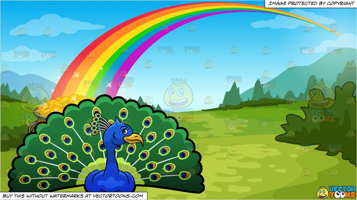 Peacock clipart rainbow. A showing off its