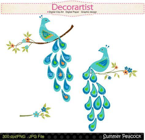 Digital clip art for. Peacock clipart summer flower