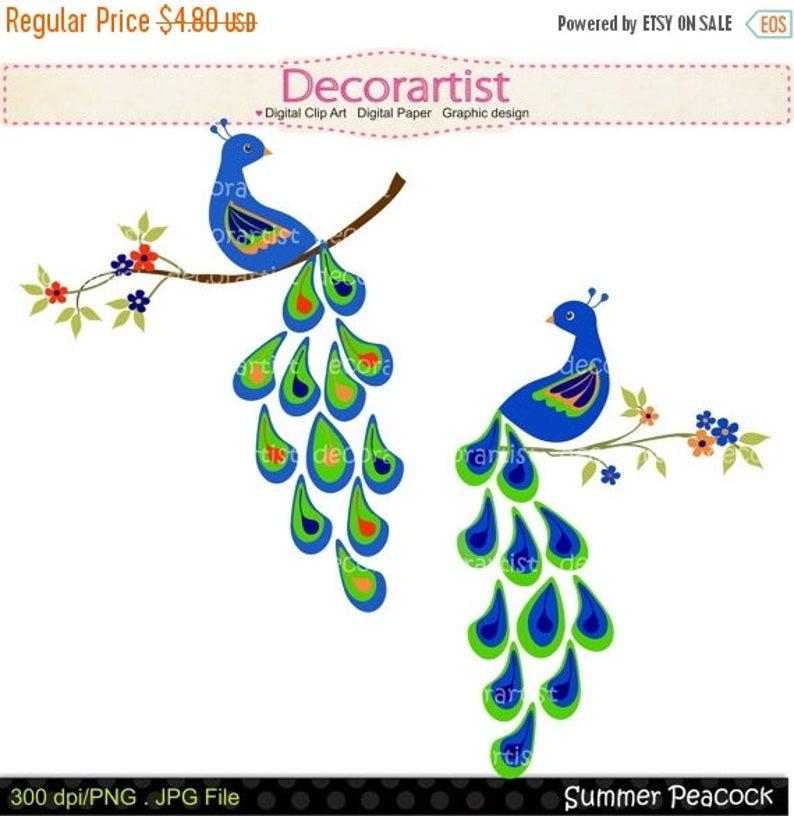 Peacock clipart summer flower. Digital clip art for