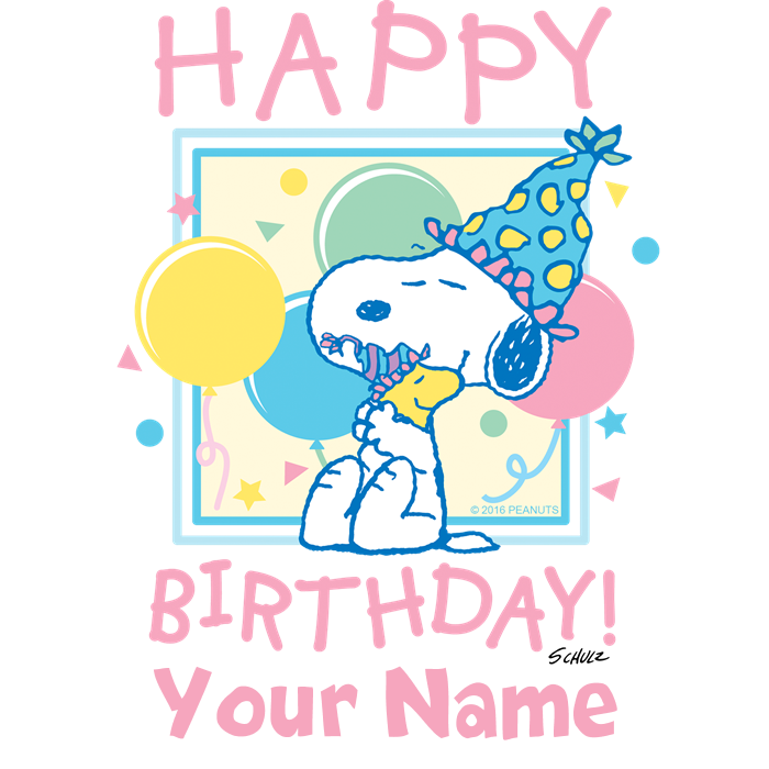 Happy pink personalized baseball. Peanuts clipart birthday