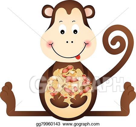 Eps illustration monkey vector. Peanuts clipart eating