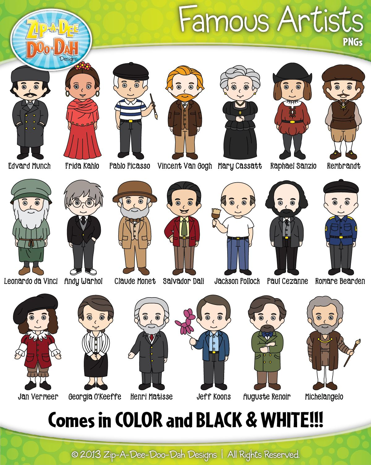 Peanuts clipart pack. Famous artist characters zip