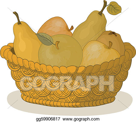 Vector with fruits illustration. Pear clipart basket