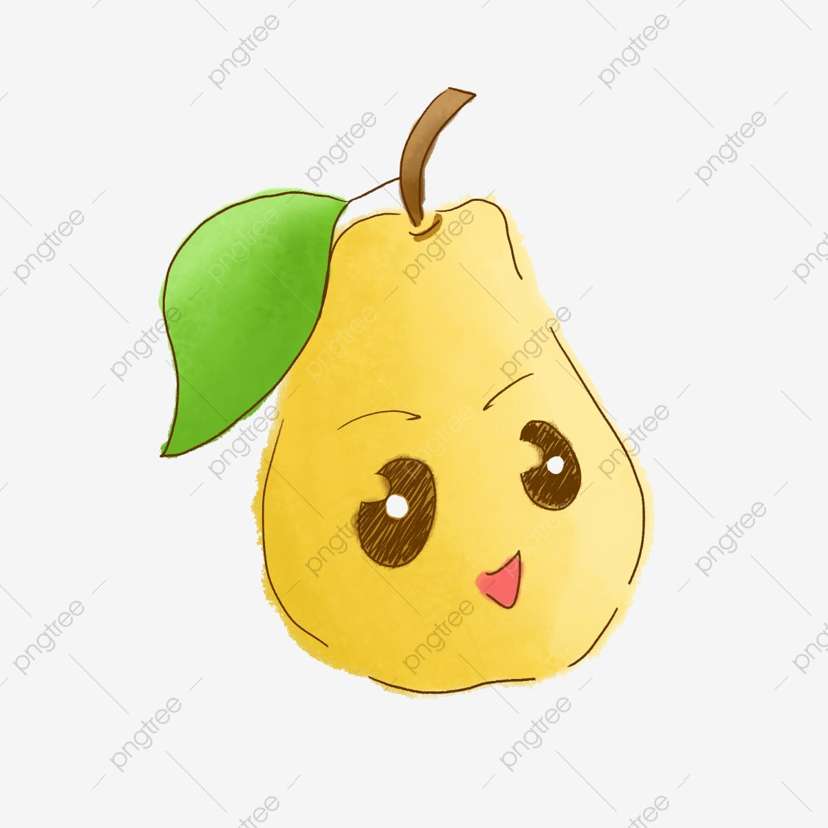 Pear clipart drawn. Fruit cartoon smiley yellow