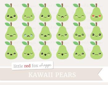 Kawaii fruit cute happy. Pear clipart face