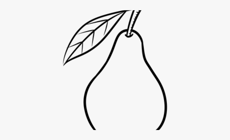 Pear clipart line drawing. Black and white