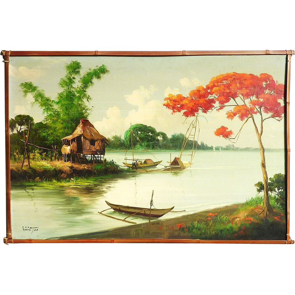 Filipino art tropical landscape. Pear clipart lukisan