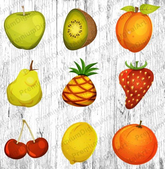 Pear clipart peach.  fruits set cherry