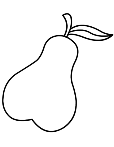Pear clipart printable. Coloring page free pages