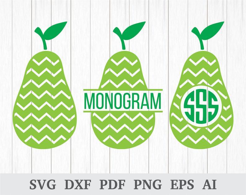 Svg kitchen monogram fruit. Pear clipart vector
