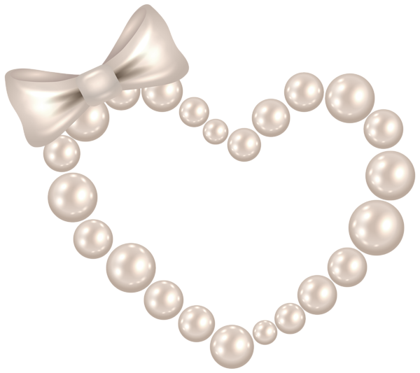 Pearl heart with bow. Glitter clipart clear background