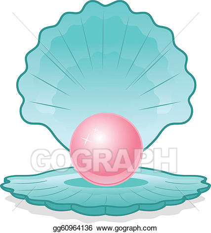 Shell clipart pearl clipart. Eps vector pink in