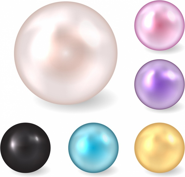 Pearl clipart colorful. Color pearls free vector