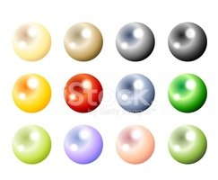Colored pearls stock vectors. Pearl clipart colorful