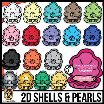 Shell and clip art. Pearl clipart colorful