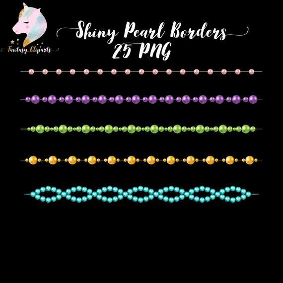 Shiny pearl borders dividers. Pearls clipart divider