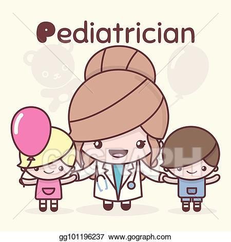 Vector illustration chibi kawaii. Pediatrician clipart cute