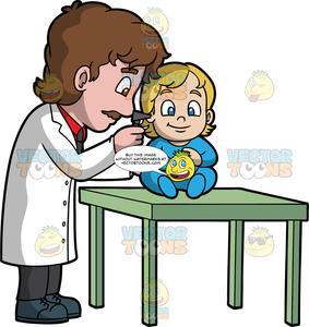 A checking the ears. Pediatrician clipart male pediatrician