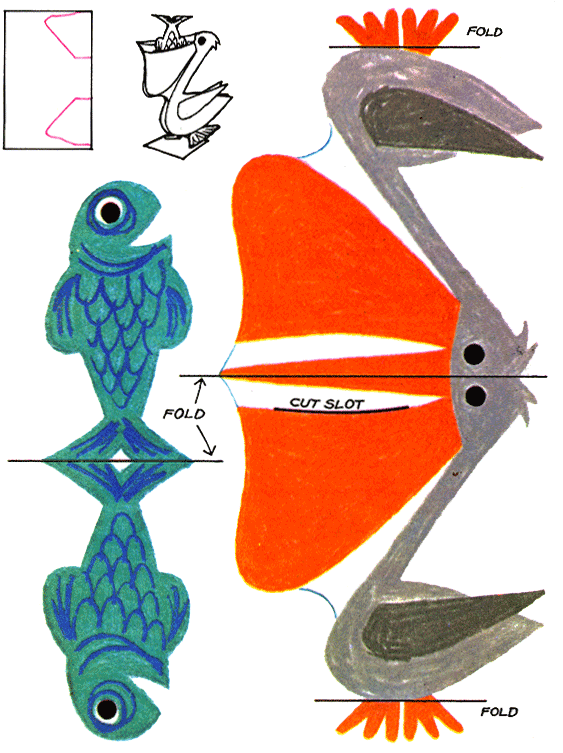 Pete the paper doll. Pelican clipart fish