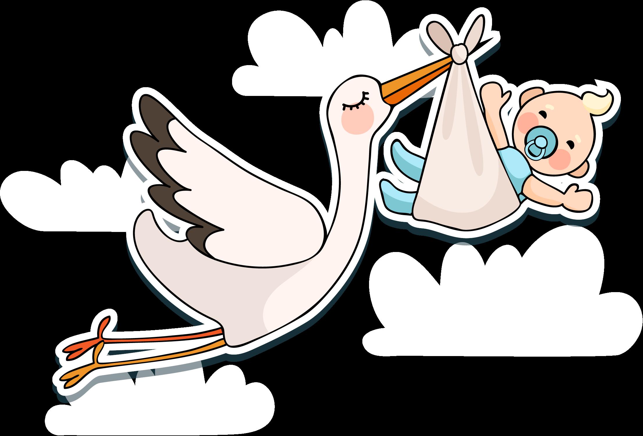 White stork infant baby. Pelican clipart vector