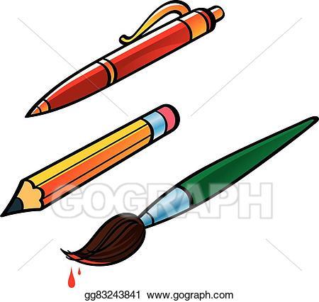 Pen clipart pen pencil. Vector art and brush
